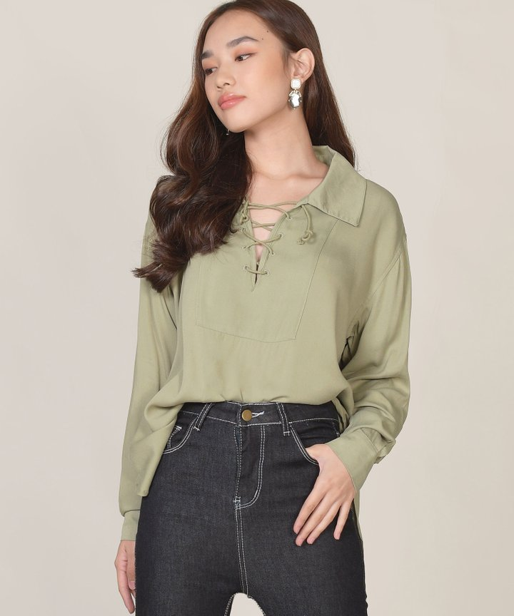 Matcha Lace Up Blouse