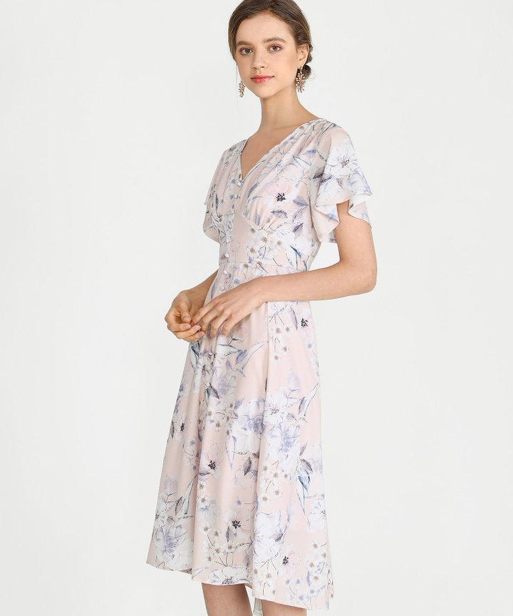 Maybelle Floral Midi Dress - Pale Pink