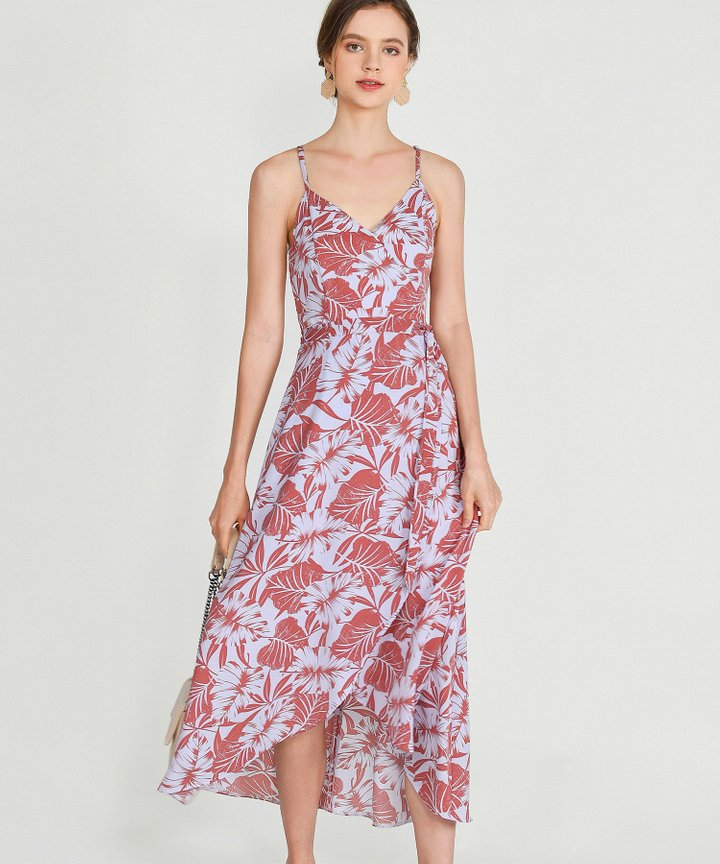 Palms Asymmetrical Dress - Terracotta