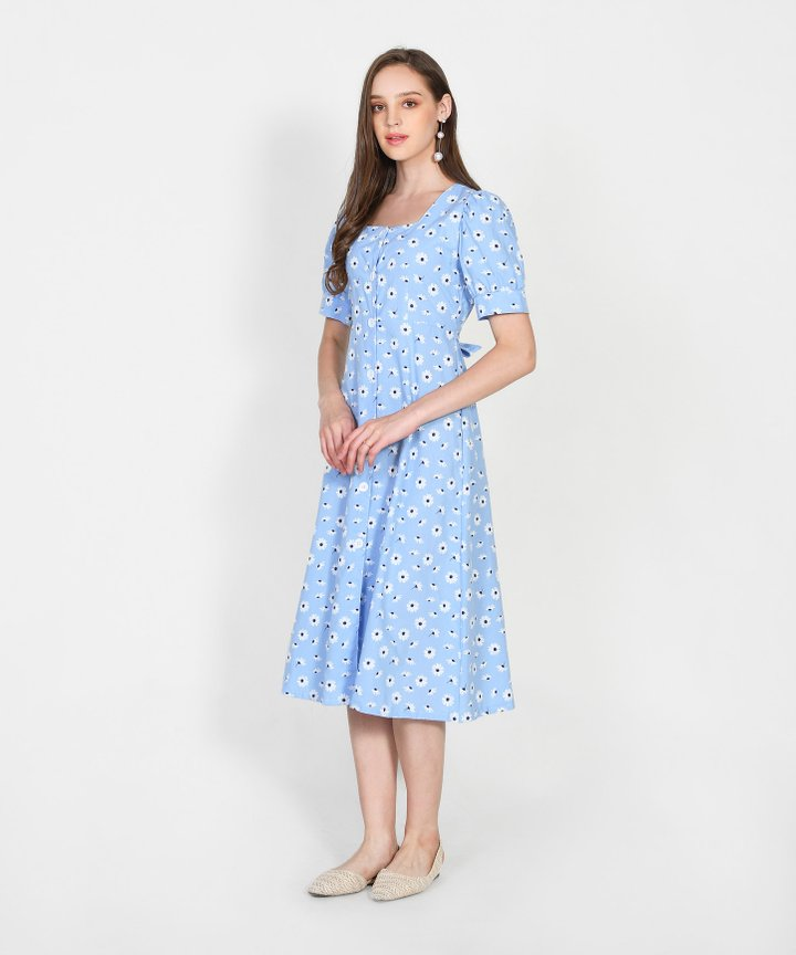 Paola Daisy Button Down Midi Dress - Sky Blue