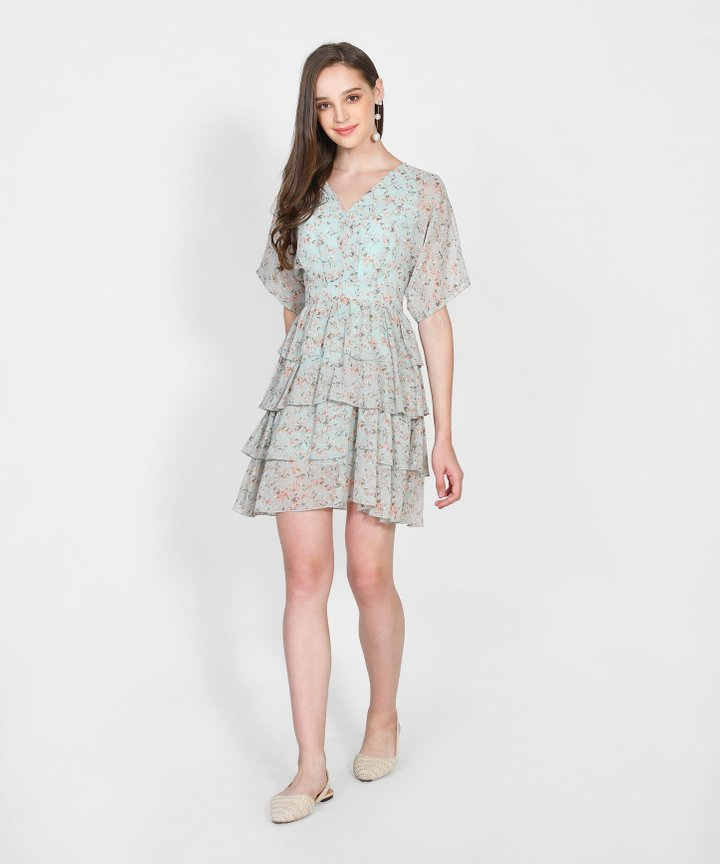 Raquel Floral Tiered Mini Dress - Pale Mint