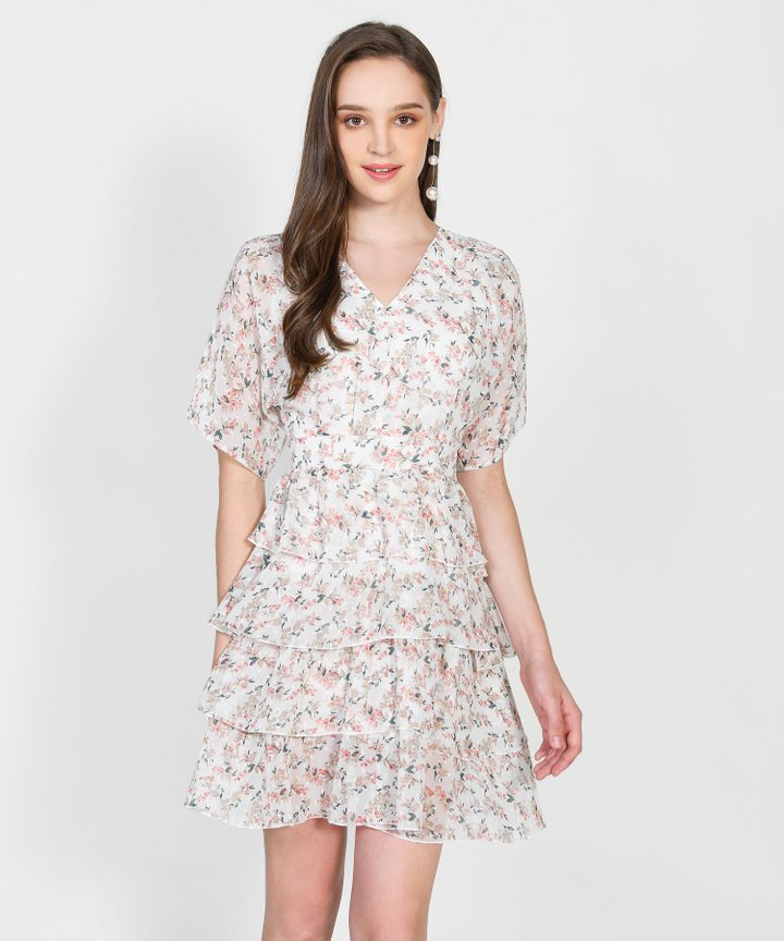 Raquel Floral Tiered Mini Dress - White