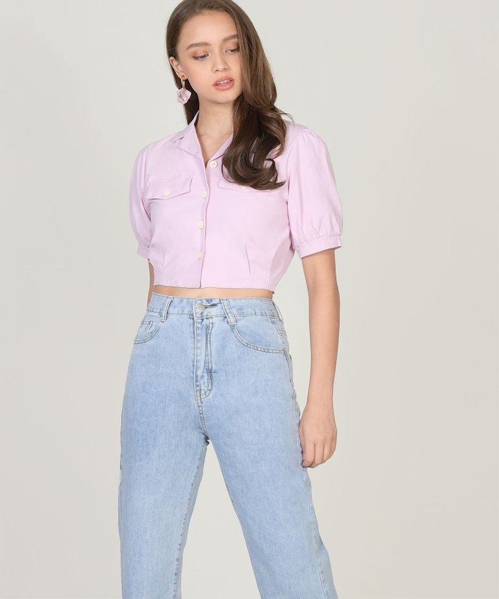 Salut Cropped Blouse - Pale Lilac