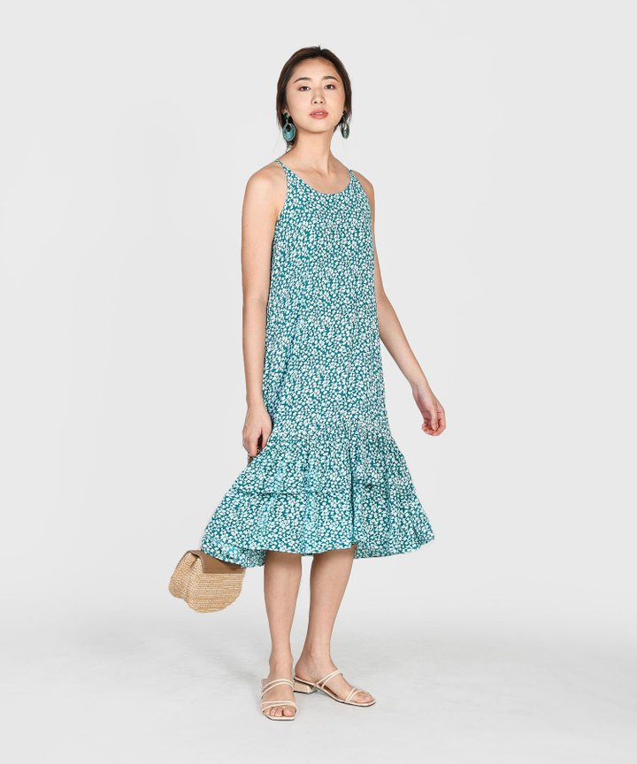 Silvia Printed Tiered Midi Dress