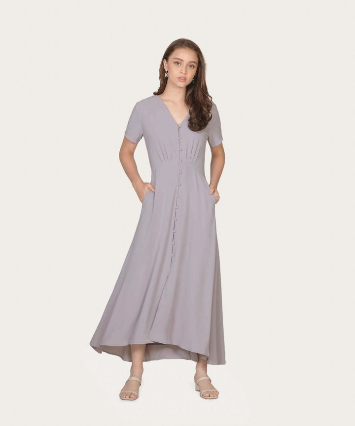 Solace Button Down Maxi Dress - Pale Lavender