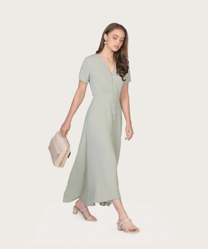 Solace Button Down Maxi Dress - Pale Sage