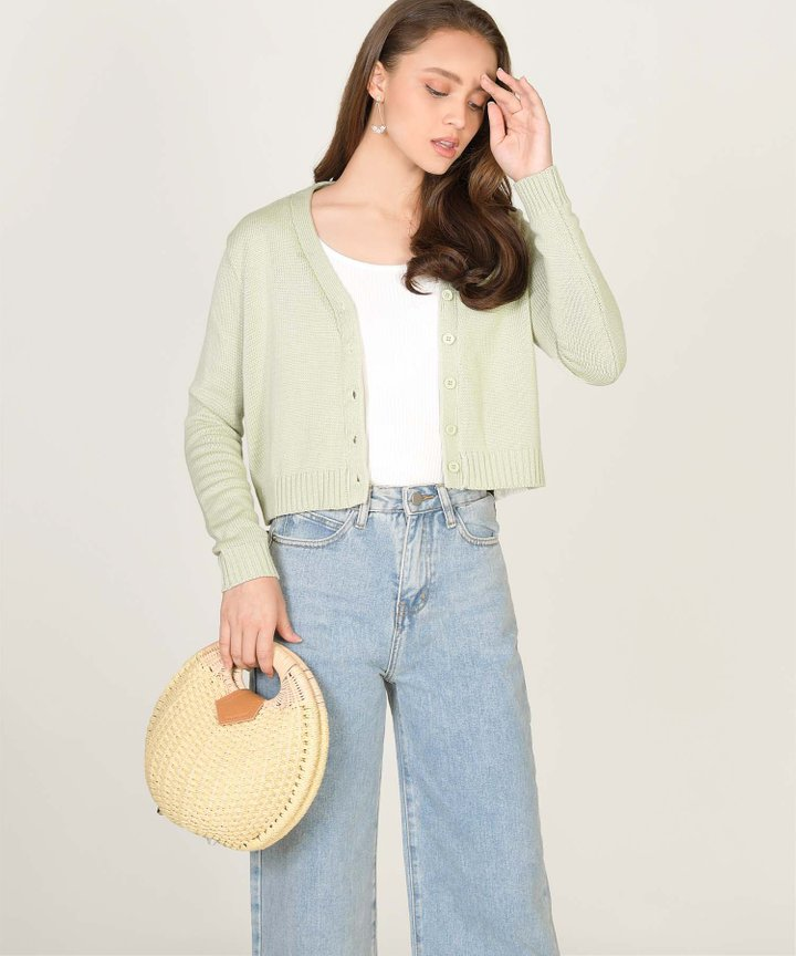 Tsubi Cropped Cardigan - Sage (Backorder)