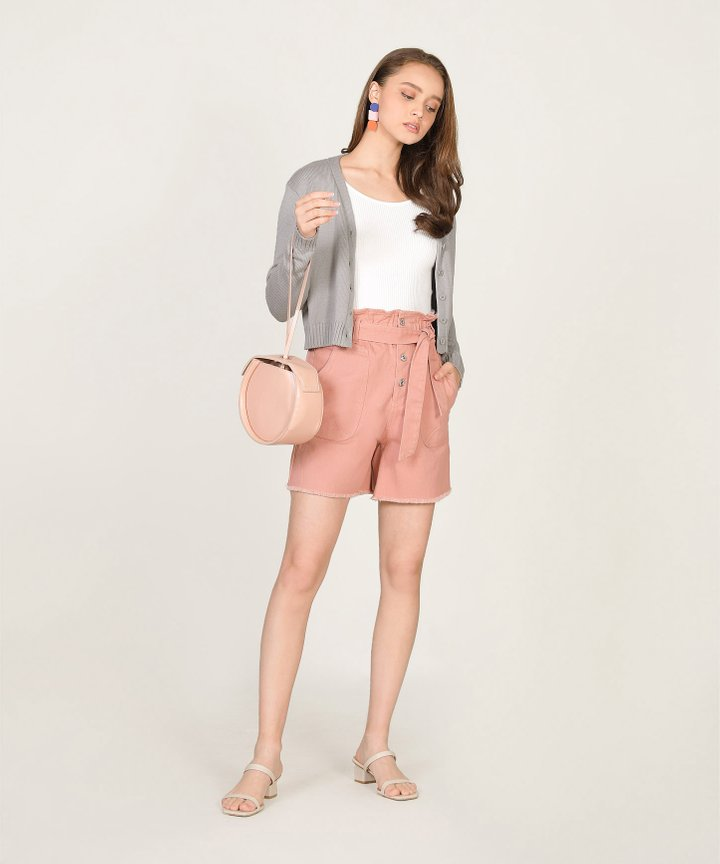 Tsubi Cropped Cardigan - Storm Grey