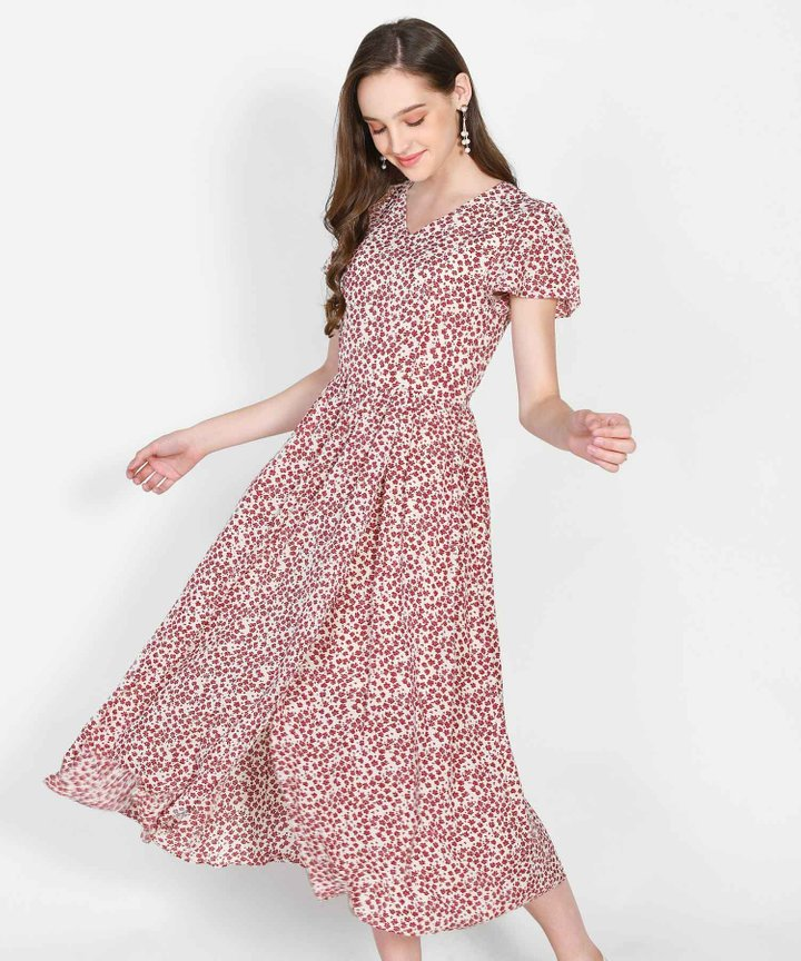 Valencia Floral Overlay Maxi Dress - Ecru