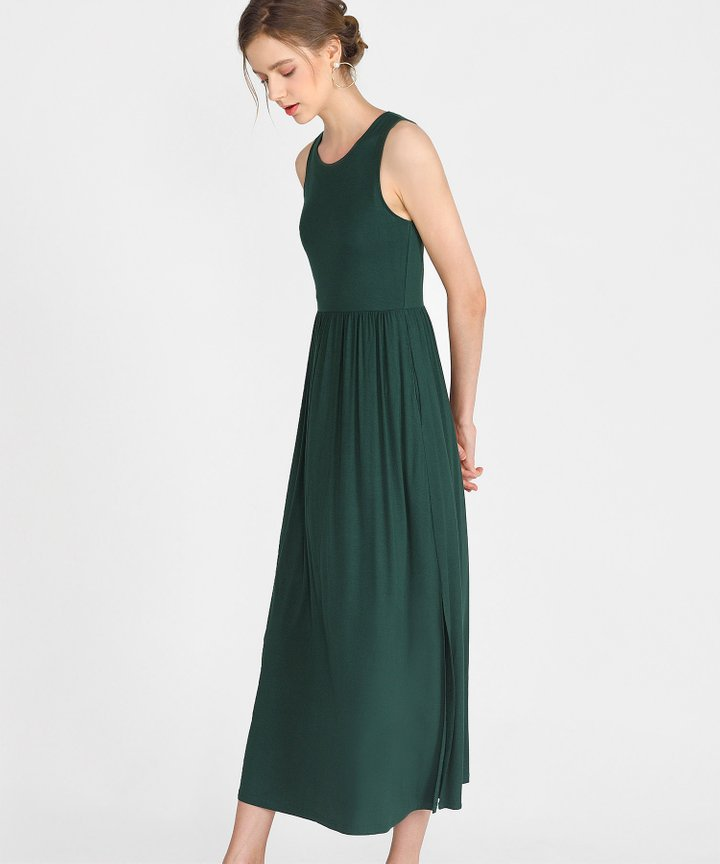 Winnie Cotton Maxi Dress - Forest Green