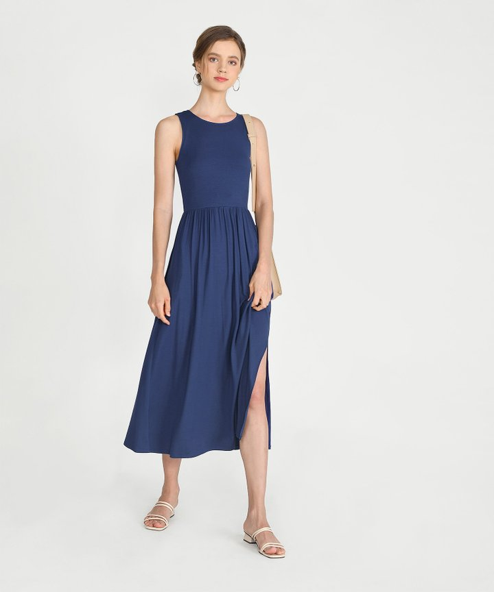 Winnie Cotton Maxi Dress - Navy