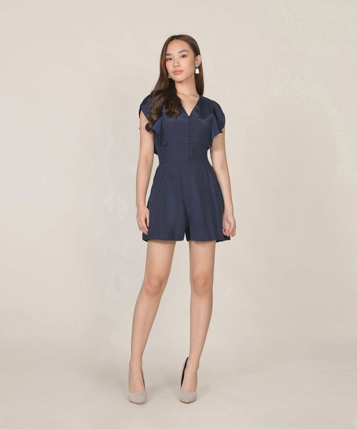 Blanche Ruffle Playsuit - Midnight Blue