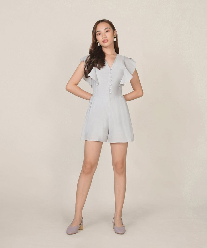 Blanche Ruffle Playsuit - Pale Cinder Grey