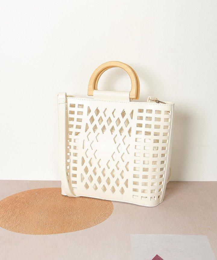 Capucines Lattice Top Handle Bag - White
