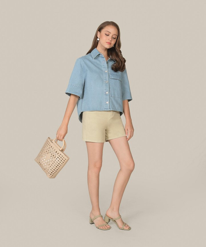 Carmel Denim Shorts - Pale Avocado