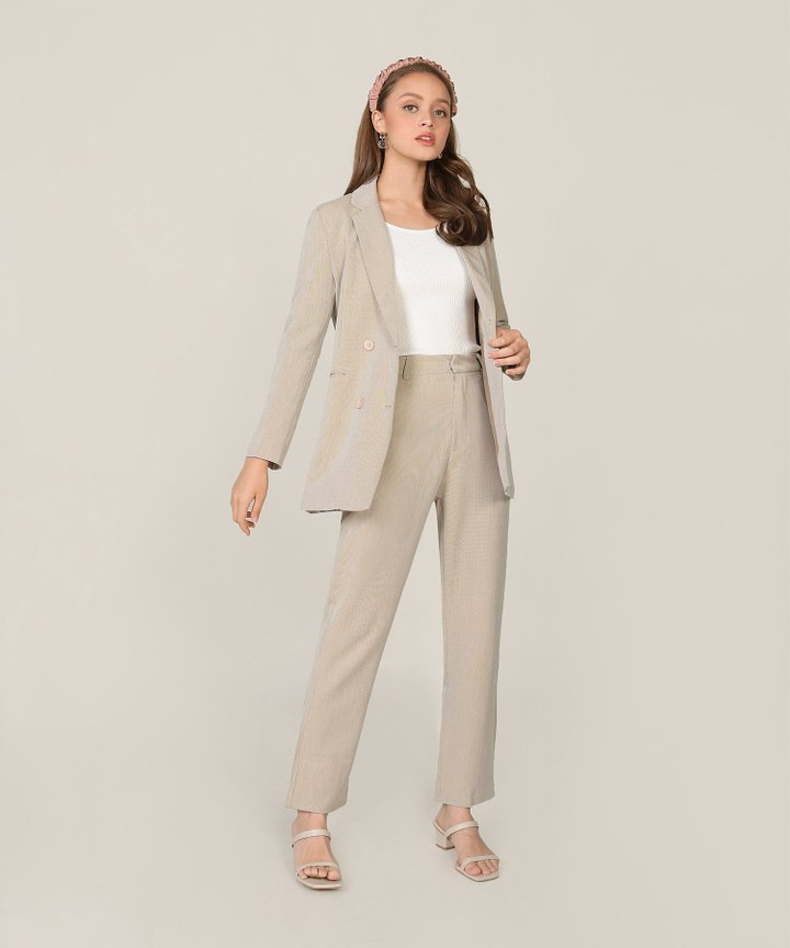 Elin Longline Blazer - Pebble Grey