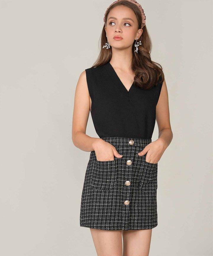Emeraude Knit Vest - Black