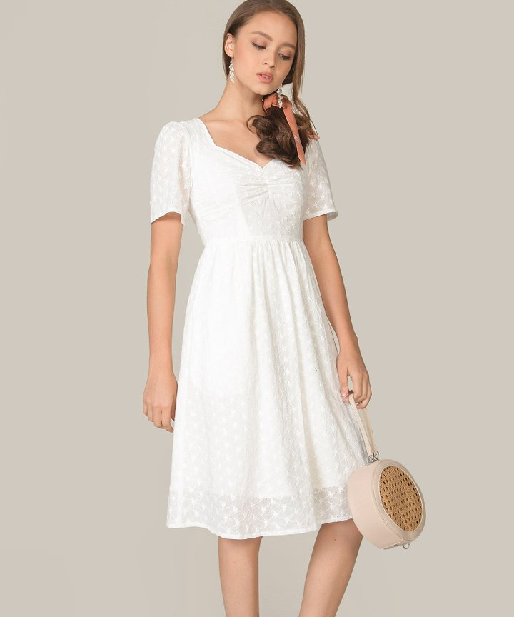 Escena Embroidered Midi Dress - White