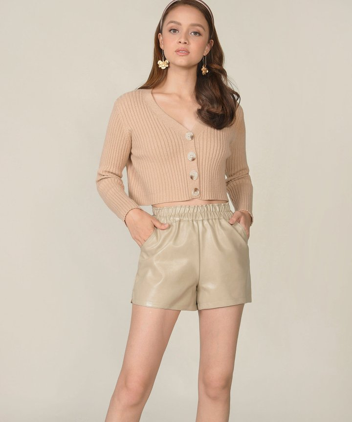Evelina Cropped Cardigan - Sand