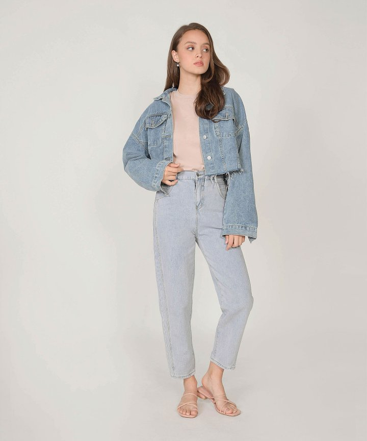 Heron Cropped Raw Hem Denim Jacket
