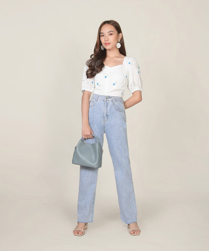 Ines Floral Embroidered Top - Blue