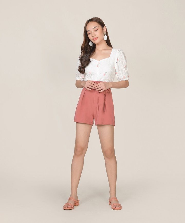 Ines Floral Embroidered Top - Pink