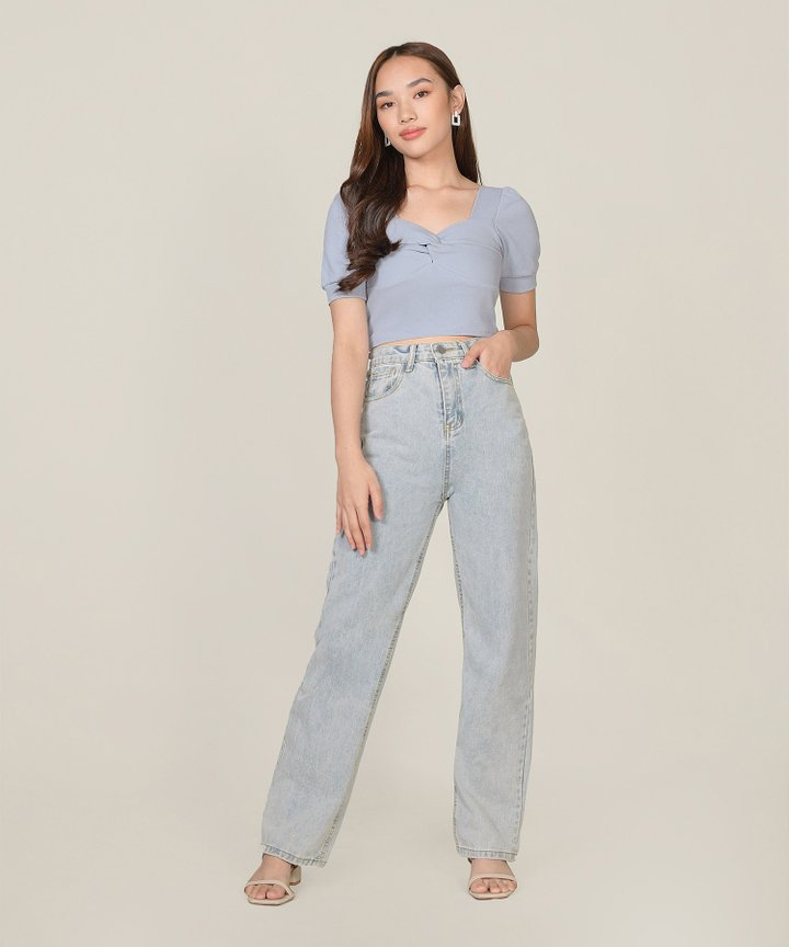 Lychee Twist Cropped Top - Alice Blue