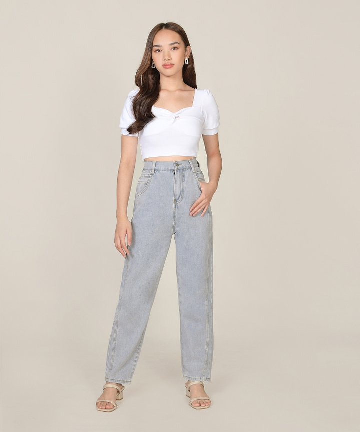 Lychee Twist Cropped Top - White