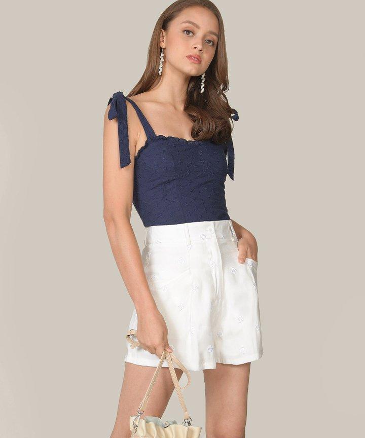 Memento Embroidered Shorts - White