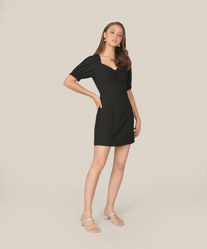 Michele Ruched Dress - Black