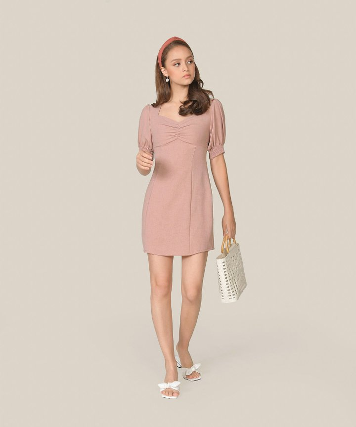 Michele Ruched Dress - Blush Pink