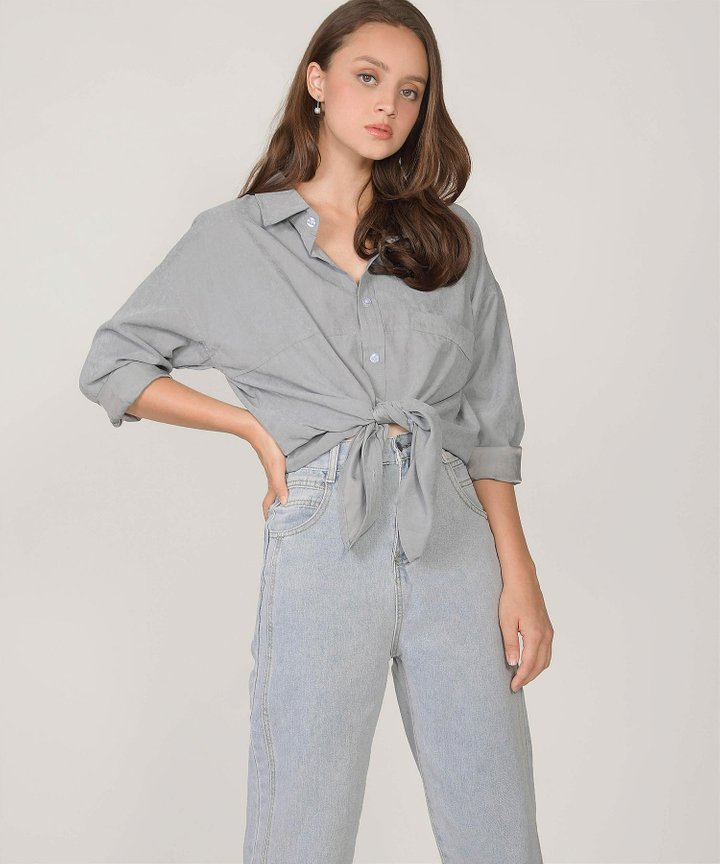 Moscato Button-Down Woven Shirt - Slate Grey