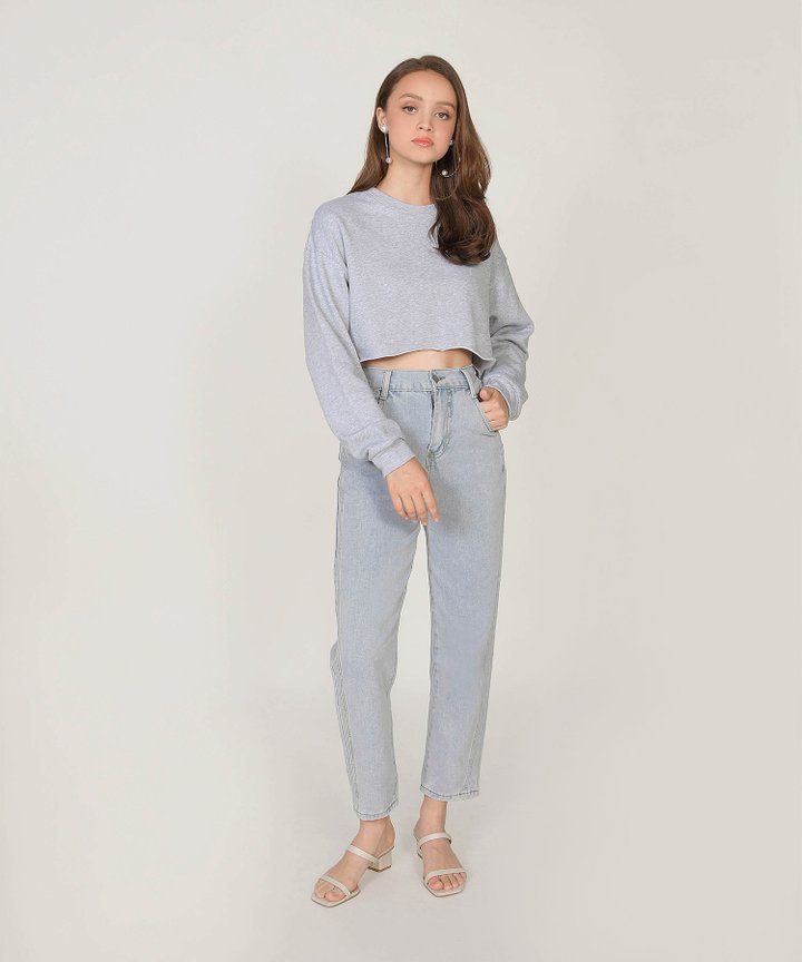 Musings Cropped Raw Hem Sweater - Heather Grey