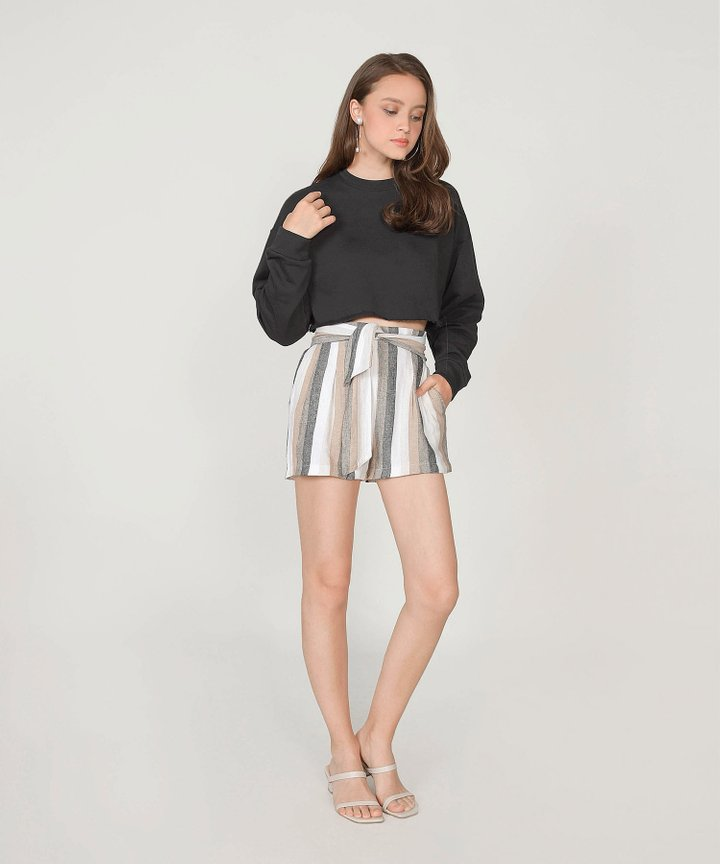 Musings Cropped Raw Hem Sweater - Licorice