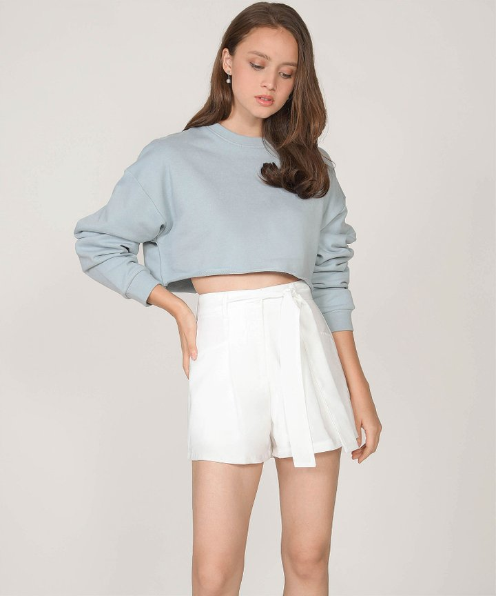 Musings Cropped Raw Hem Sweater - Mist Blue
