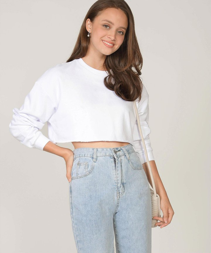 Musings Cropped Raw Hem Sweater - White