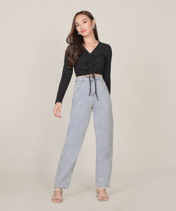 Ona Ruched Cropped Top - Black