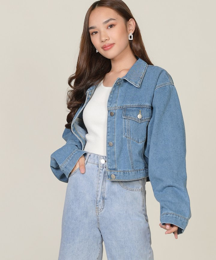 Piet Cropped Denim Jacket - Medium Blue