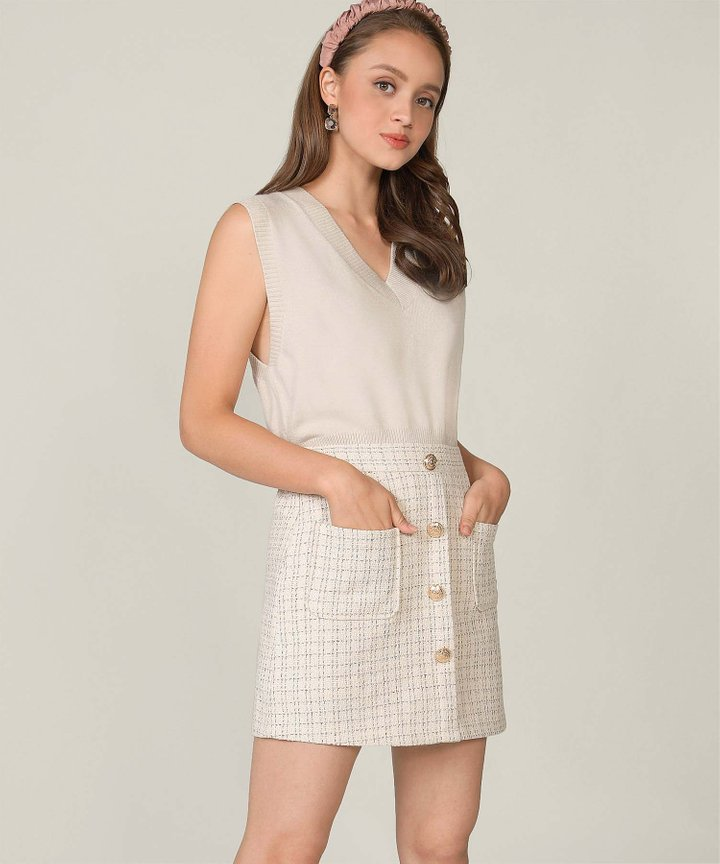 Prescott Tweed Skorts- Ecru (Backorder)