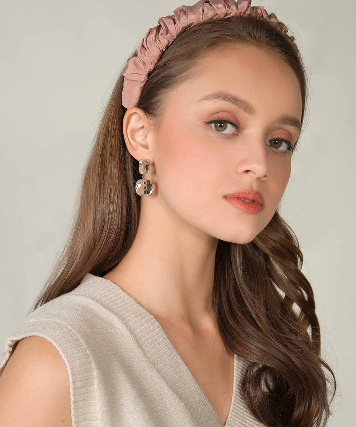 Rochas Satin Ruched Hairband - Rose (Backorder)