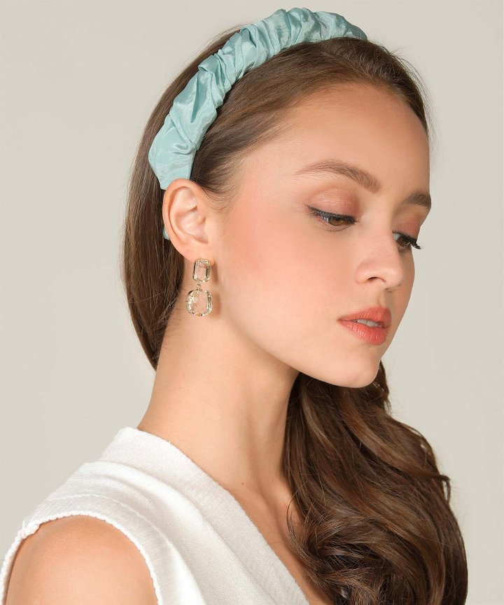Rochas Satin Ruched Hairband - Tiffany (Backorder)