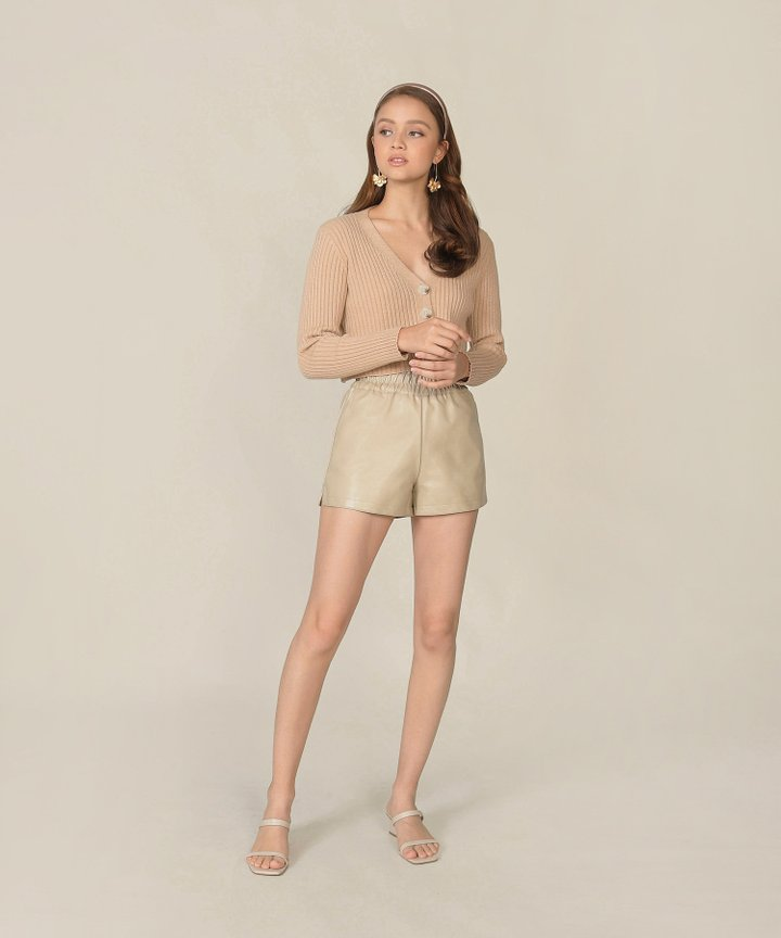 Sancerre Pleather Shorts - Beige