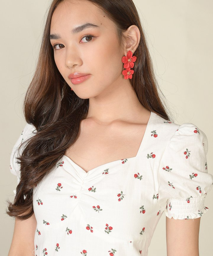 Hialeah Floral Tiered Earrings - Red