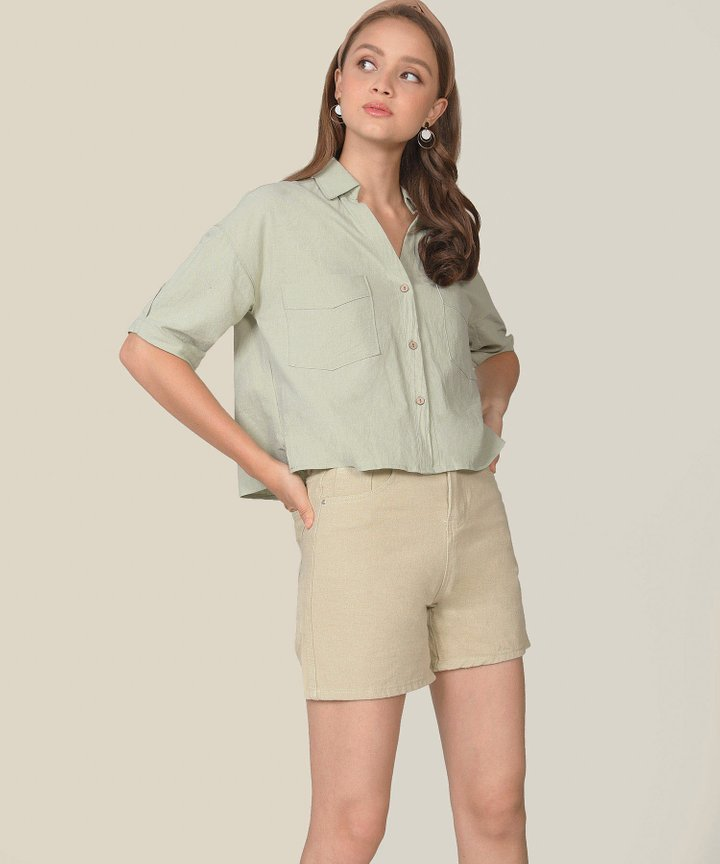 Simonne Chambray Shirt - Sage