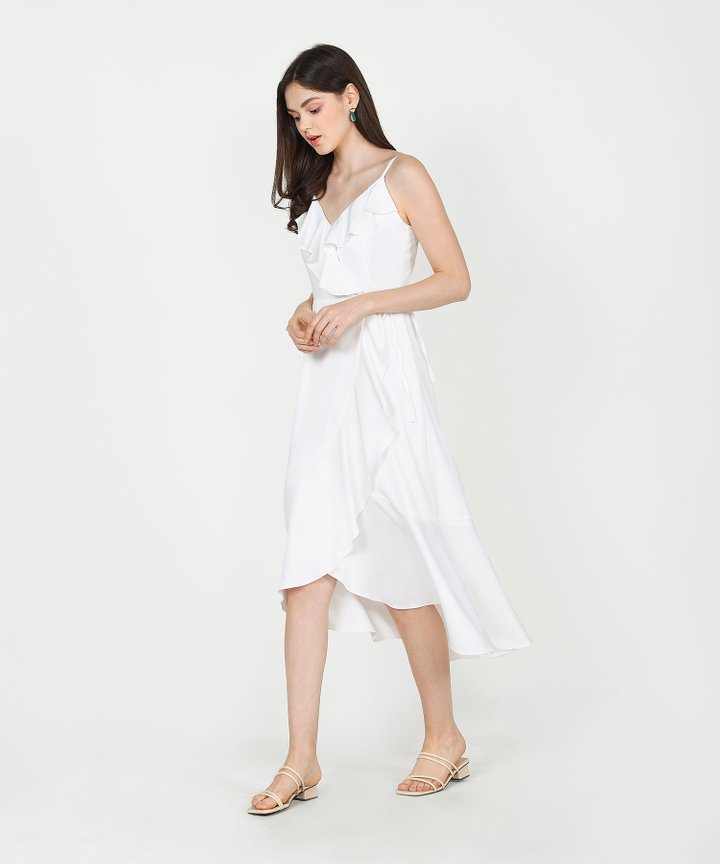 Alexis Ruffle Overlay Maxi Dress - White
