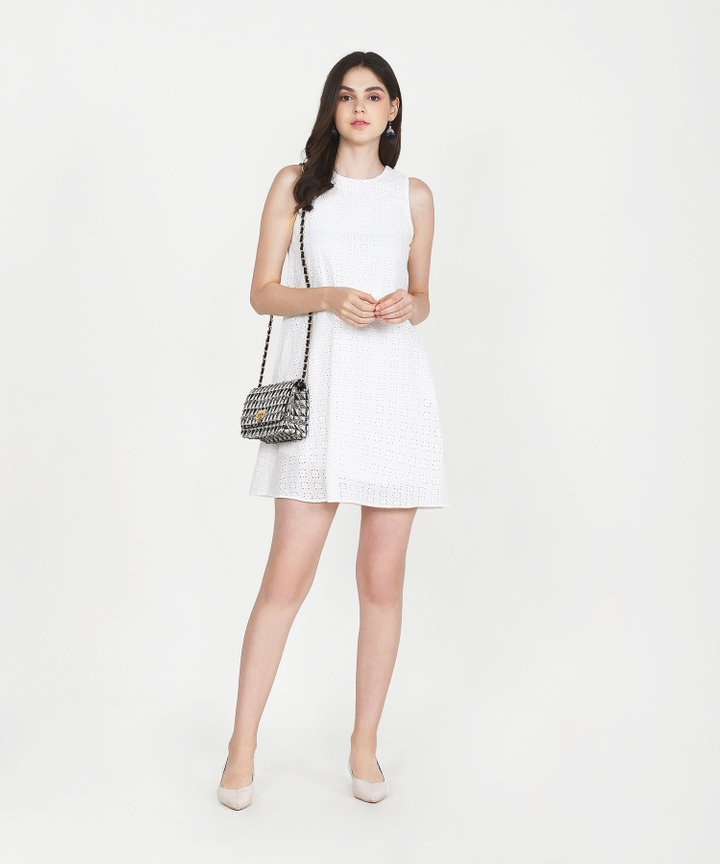 Basque Eyelet Shift Dress - White