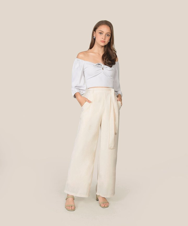 Temperley Wide-Leg Trousers - Cream (Restock)