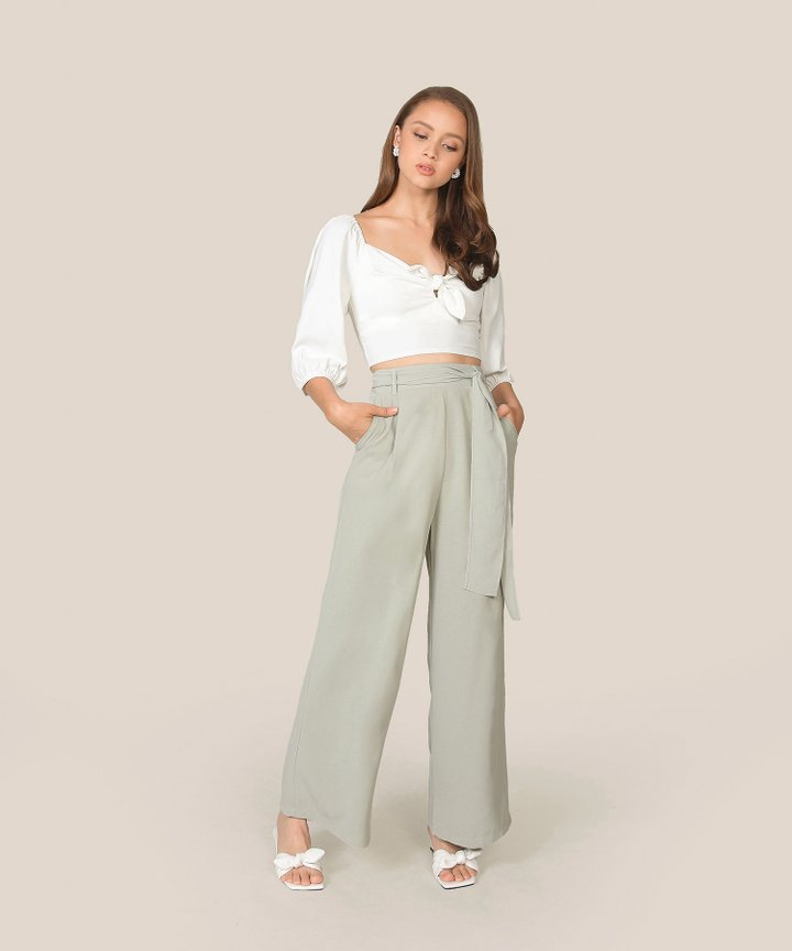 Temperley Wide-Leg Trousers - Dust Sage (Restock)