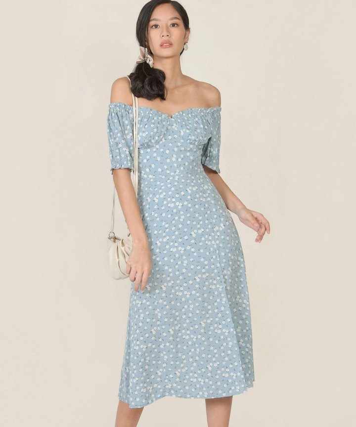 Bijou Floral Midi Dress - Pale Blue (Backorder)