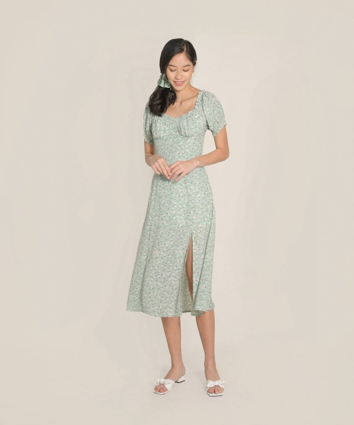 Bijou Floral Midi Dress - Pale Seafoam